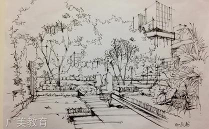 园林手绘线稿