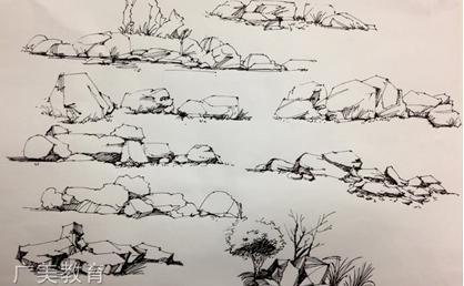 园林手绘配景